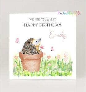 Personalised Hedgehog Birthday Card, For Mum/Daughter/Nan/Sister/Niece/Friend
