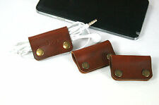 3x Leather Earbud Earphone Organizer, Cable Winder, Earbud Holder Cord Organizer