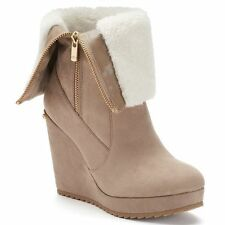 Womens-Juicy-Couture-Fold-Over-Platform Wedge Kasia Boots Taupe size 10