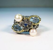 PEARL & 2.25 CTW TOPAZ/SAPPHIRE RING #5.75 2-TONE GOLD/RHODIUM-plated 925 SILVER