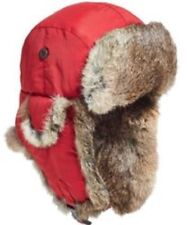 Woolrich Faux Fur Aviator Trapper Hat Cap Red 100% Nylon Large 58-59cm L WINTER