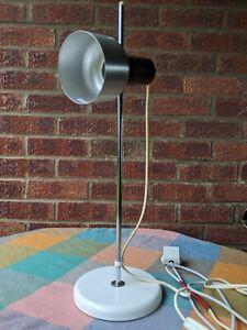 Vintage Retro Adjustable 1970`s Aluminium White Spot Light Desk Lamp FREE DEL