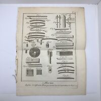 Authentic Antique 1600-1700's Engineering Engraving On Paper - Decor Display