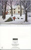 CHRISTMAS COONHOUND DOGS FARM HOUSE SNOW WINTER 1 GARDEN TULIPS FLOWERS PRINT