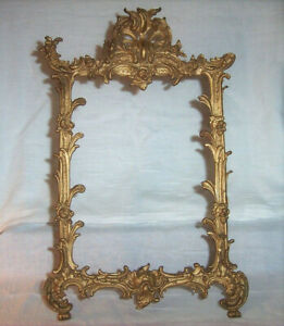 ca. 1900 Antique IRON ART Picture Frame Gold Decorated Easel Standing 7 x 9.75