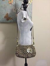 Coach Signature Stripe Demi Khaki/Gold Crossbody Shoulder Bag With Flower RARE
