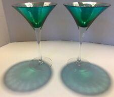 ARTLAND ~ METALLIC PEACOCK FEATHER COCKTAIL GLASSES ~ SET OF 2 ~