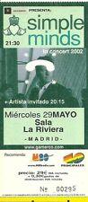 RARE / TICKET DE CONCERT - SIMPLE MINDS : LIVE A MADRID ( ESPAGNE ) 2002