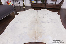 Sensational Silver Acid Wash Rodeo Cowhide Rug Brazilian Made Approx 7' x 8' ft