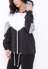 Women's Ladies Long Sleeve Block Contrast Hooded Zip Up Windbreaker Jacket Coat