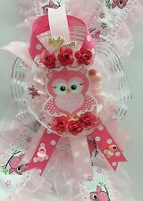 Baby Shower Corsage cute OWL Girl - Pink flowers RIBBON FAVOR HANDMADE