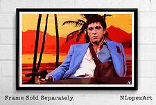 Scarface Tony Montana Al Pacino Illustration Gangster Pop Art Poster 11x17