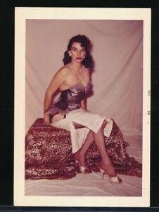 SATANA Original 1959 Color Sexy Pin-Up Burlesque Photo HEELS & HOSE vv
