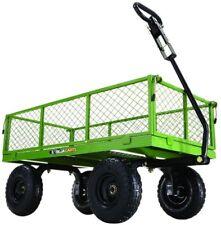 800 lb. Steel Utility Cart Wagon Garden Trailer Pneumatic Tires Removable Sides