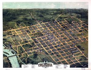 "Bird's Eye View Columbia SC Vintage 1872 Map Poster/ Print - 8.5"" x 11"" Reprint"