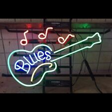 "17""x14""BLUES GUITAR Neon Sign Light Music Club Pub Wall Decor Handcraft Artwork"