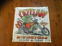 Outlaw rat fink biker Harley HD  Man cave flag sign mancave ideas banner poster