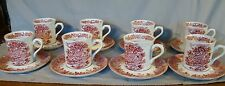8 J & G Meakin Romantic England Pink Transfer Anne Hathaway's Cottage Cups & Sau