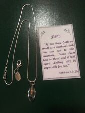 Mustard seed necklace Stamped .925 Sterling Silver Plated & Free Gift