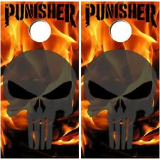 Punisher Cornhole Board Vinyl Decal Wraps High Quality Bag Toss Set Skull Fire