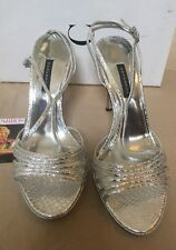 Caparros Size 8 1/5 M Gwenyth Silver Snake Open Toe Heels New Womens Shoes