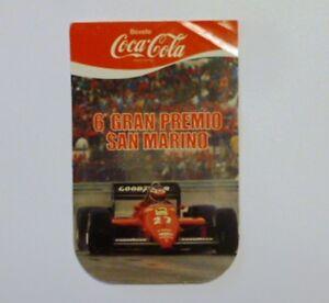 VECCHIO ADESIVO / Old Sticker COCA COLA 6° GP SAN MARINO FERRARI F1 (cm 8 x 12)