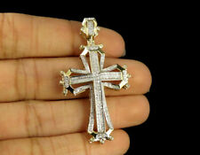 Framed Cross Pendant 14K Yellow Gold Plated 1 Ct White Round Sim Diamond Men's