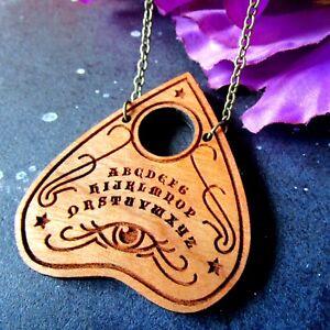Spirit Board Halloween Statement Necklace Wooden Ouiji Board Planchette