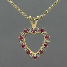 Gold Clad Sterling Reversible Sapphire Ruby Heart Pendant Rope Chain Necklace