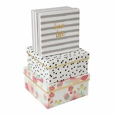 Set of 3 Storage Gold Striped Polka Floral Bloom Boxes Box Organiser Tidy Modern