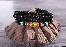 "Tibetan OM Mani 108 6mm Black Agate Buddhist Prayer Beads Mala Necklace 26"""