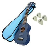 Soprano Beginners Ukulele Free Gig Bag, 4 Felt Picks in Blue by Clearwater