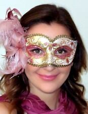 Masquerade Mask from Venice - OVERNIGHT 2U -  MADE IN ITALY Annalyse Pink Gold