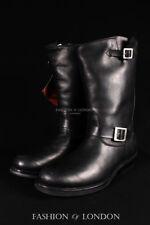 Molinillos Rebel Unisex Negro de cuero para motocicleta Moto Pantorrilla Botas Zapato