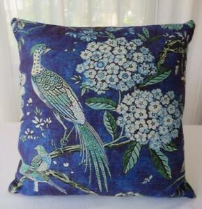 Peacock & Hydrangeas Mottled Blue Linen Look Hamptons Coastal Cushion Cover 45