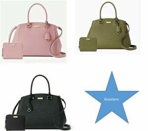 Kate Spade Green Pink Black Tilden Place Sloan Handbag & Laurel Way Darci Wallet