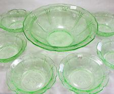 Vintage CHERRY BLOSSOM GREEN Depression Glass JEANNETTE-7PC BERRY BOWL SET
