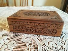 "Wooden  Box / Hand Carved / India / 1970's / Inlay Style Lid 7"" X 5""X 2 !/8"""