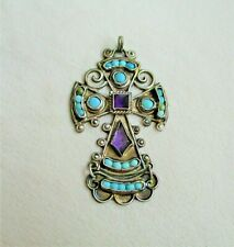 MATL Matilde Poulat Mexican Silver Amethyst & Turquoise Cross Pendant