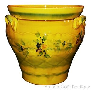 """SOULEO, TERRE è PROVENCE, FRENCH PROVENCE LARGE FLOWER POT 11"""" TALL, 9.5"""" DIAM"""