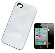 HOUSSE COUVERTURE FLIP COMPATIBLE POUR IPHONE 4 POLYGONES 3D ROUGH LUCIDA BLANC