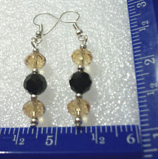 Black & amber color faceted beads on silver plated ear wires