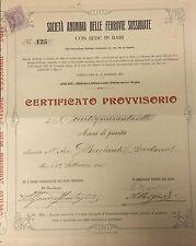 * AZIONI - Società Ferrovie Sussidiate Bari - Certificato 147 Azioni 1908