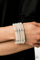 Paparazzi Jewelry Bracelet ~Get In Line - White~2019 Convention Exclusive - 498