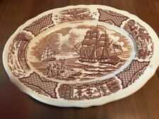 Fair Winds Historical Scenes Copper Engraving ~Staffordshire Meakin Oval Platter