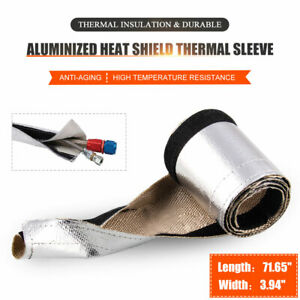 """3.94"""" Wide 71.65"""" Heat Shield Sleeve Insulated Wire Hose Cover Wrap Loom Tube"""