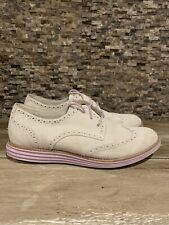 Womens Cole Haan Lunar Grand oxfords wingtips Off White suede shoes sz 8 Leather