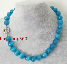 Fashion Women's 10mm Natural Blue Opal GEMSTONE Round Beads Necklace 18'' AAA