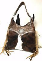 Raviani Western Bag In Brown Hair On & Croco Leather W/Fringe & Crystal Concho