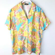 Vintage Womens Gepetto Floral Shirt Medium Embellished 100% Rayon Top Blouse